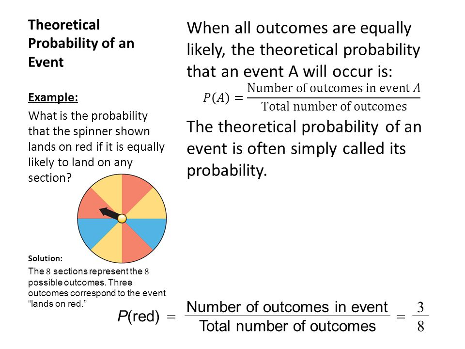 Theoretical Probability of an Event Example: What is the probability that the spinner shown lands on red if it is equally likely to land on any section.