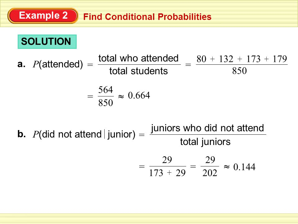 Example 2 Find Conditional Probabilities 564 850 = ~ ~ 0.664 SOLUTION a.