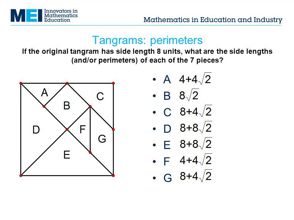 Tangrams: perimeters If the original tangram has side length 8 units, what are the side lengths (and/or perimeters) of each of the 7 pieces? A B C D E
