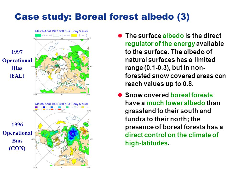 Slide 33 PA Surface III of IV - training course 2013 Slide 33 Case study: Boreal forest albedo (3) The surface albedo is the direct regulator of the e