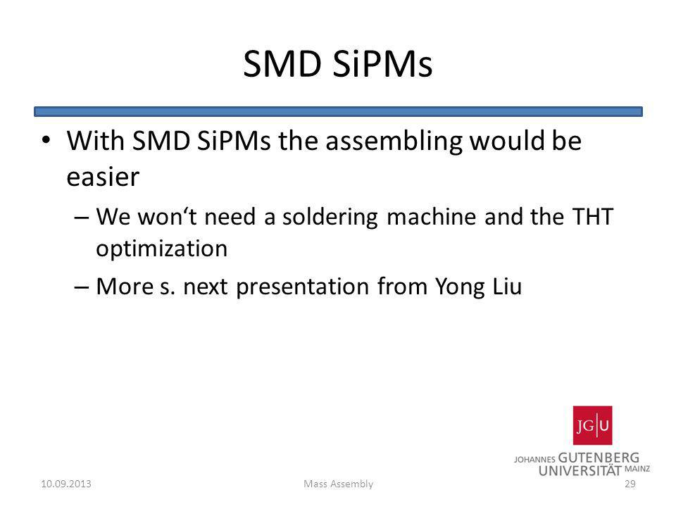 SMD SiPMs With SMD SiPMs the assembling would be easier – We wont need a soldering machine and the THT optimization – More s. next presentation from Y