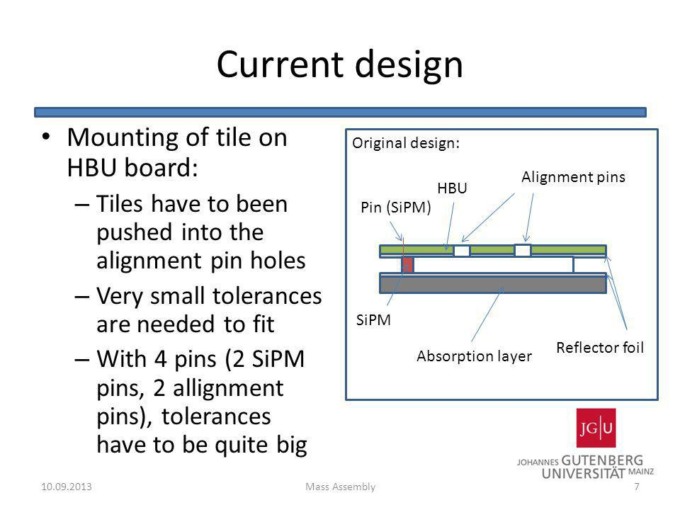 Current design Mounting of tile on HBU board: – Tiles have to been pushed into the alignment pin holes – Very small tolerances are needed to fit – Wit