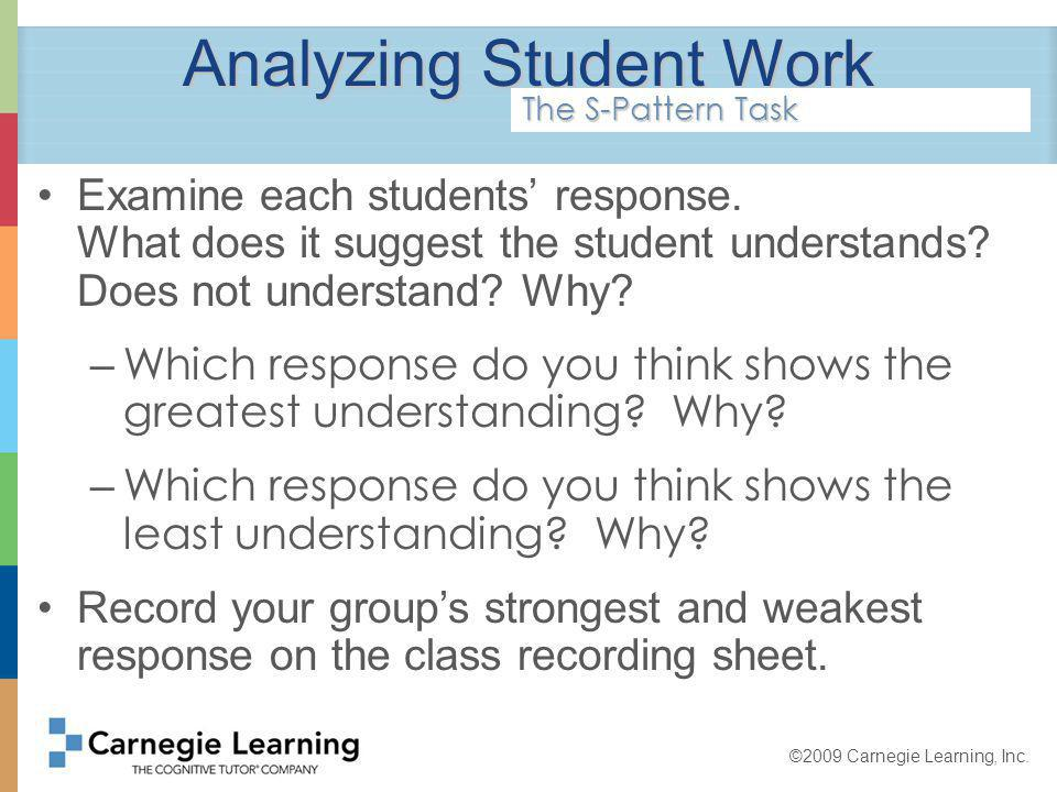 ©2009 Carnegie Learning, Inc. Analyzing Student Work Examine each students response.