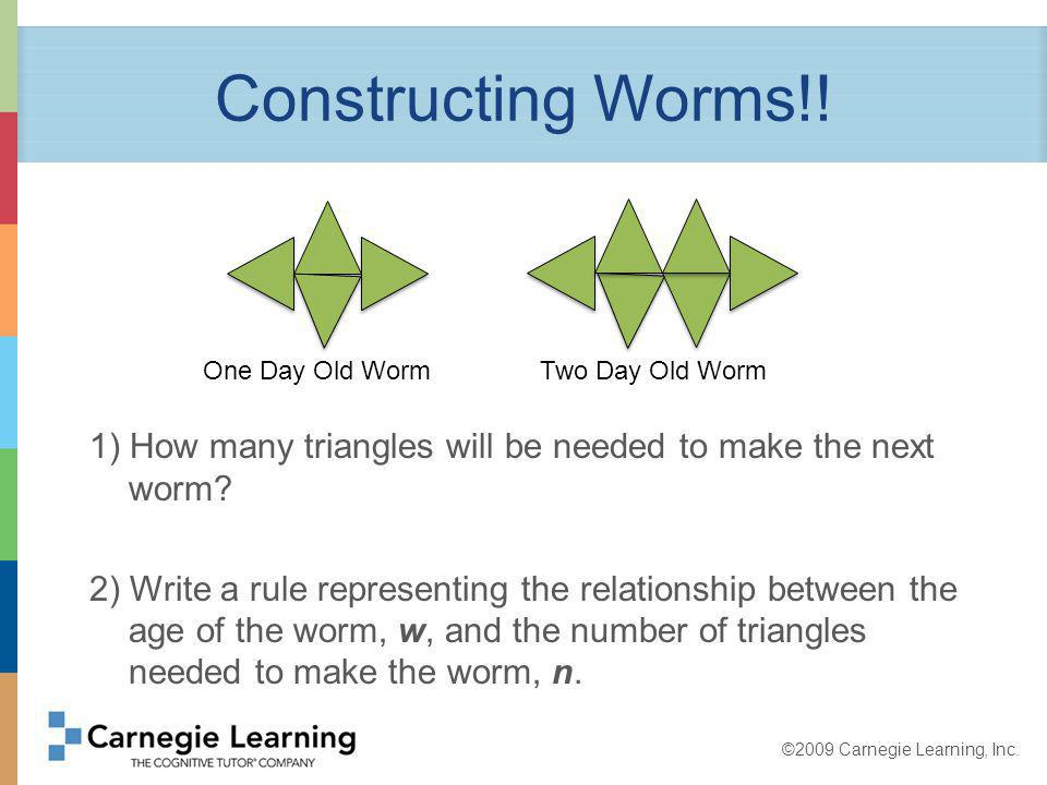 ©2009 Carnegie Learning, Inc. Constructing Worms!.