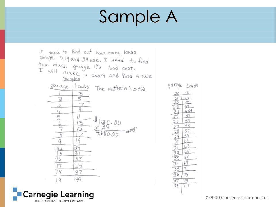 ©2009 Carnegie Learning, Inc. Sample B