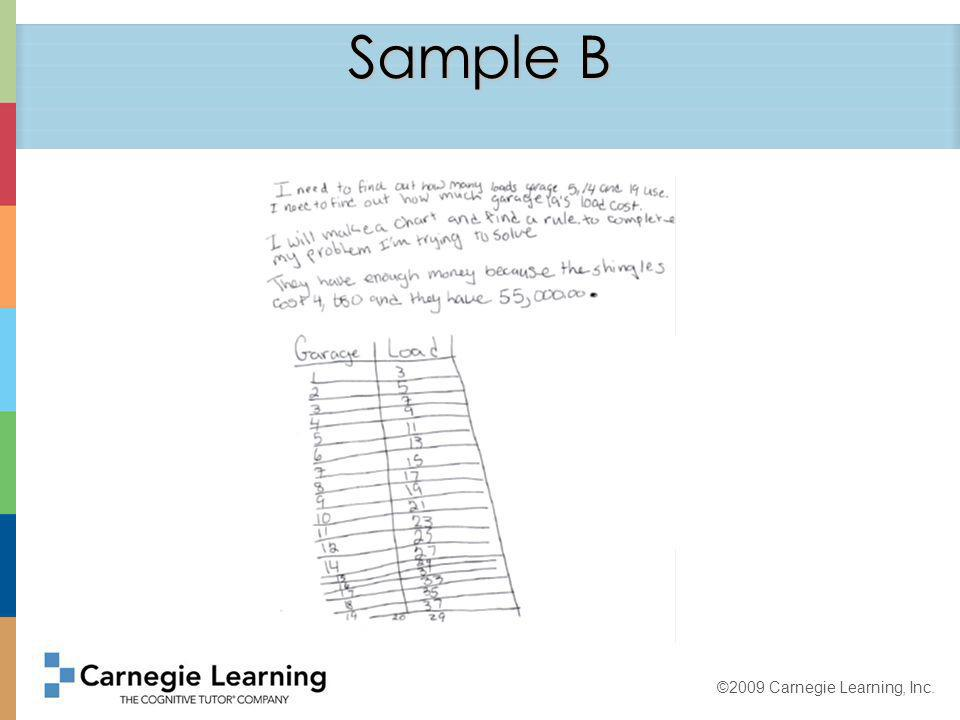 ©2009 Carnegie Learning, Inc. Sample B