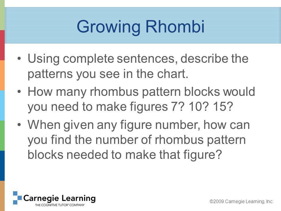 ©2009 Carnegie Learning, Inc.Growing Rhombi What if a figure has 26 pattern blocks.