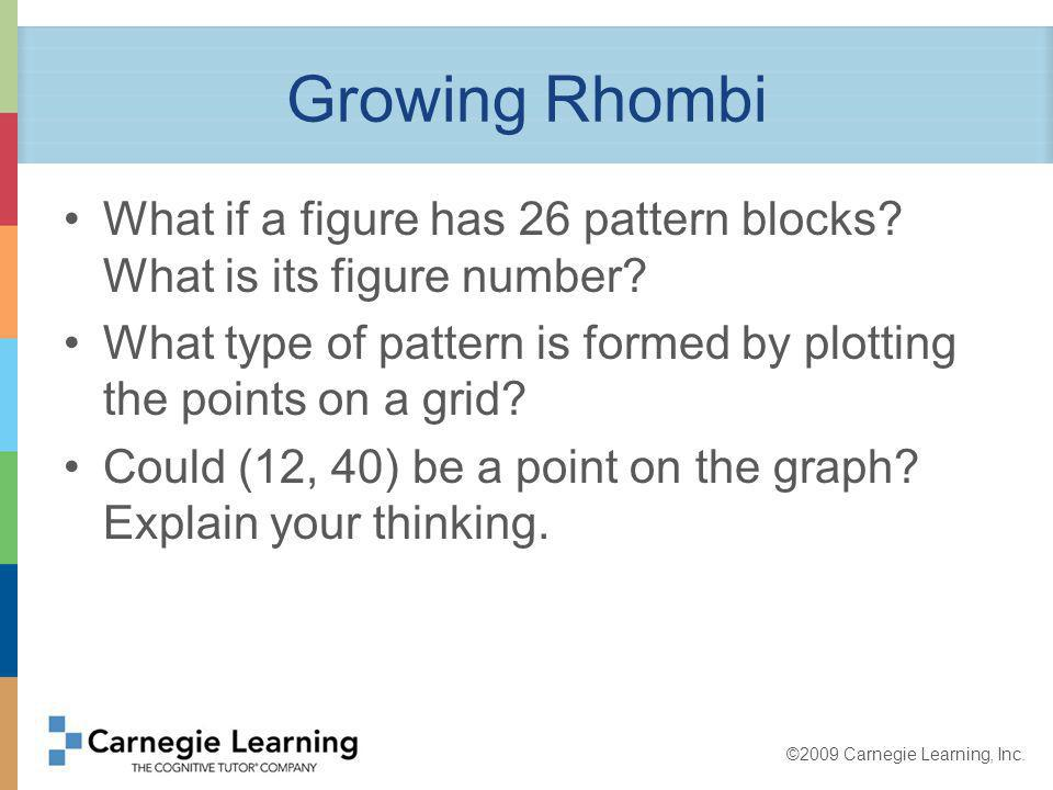 ©2009 Carnegie Learning, Inc.Growing Rhombi How does this problem relate to Rogers Roofing.