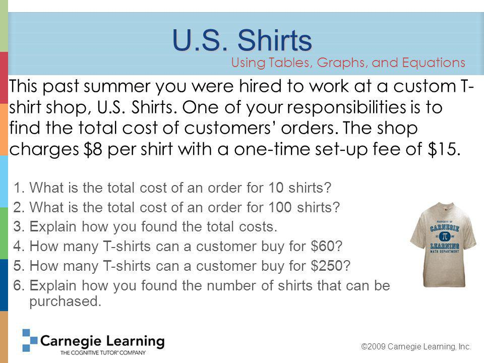 ©2009 Carnegie Learning, Inc. What is the total cost of an order for 10 shirts.