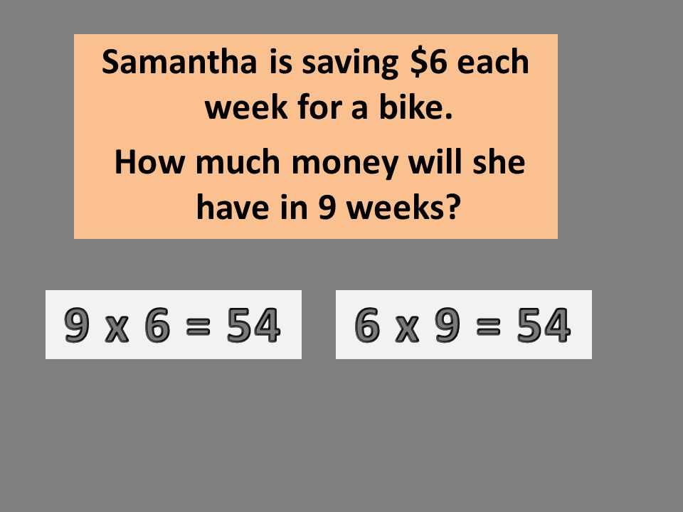 Samantha is saving $6 each week for a bike. How much money will she have in 9 weeks?