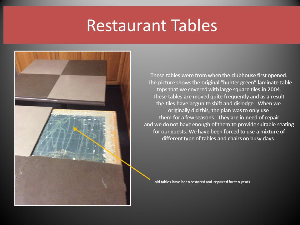 Restaurant Tables These tables were from when the clubhouse first opened.