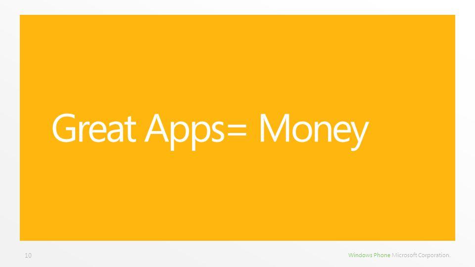 Windows Phone Microsoft Corporation. Great Apps= Money 10