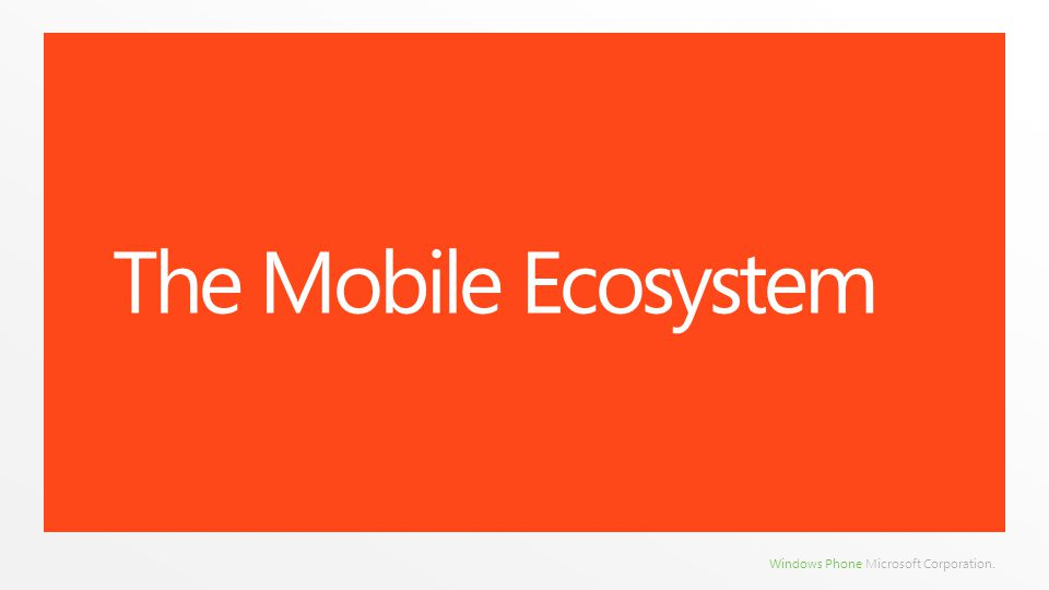 Windows Phone Microsoft Corporation. The Mobile Ecosystem