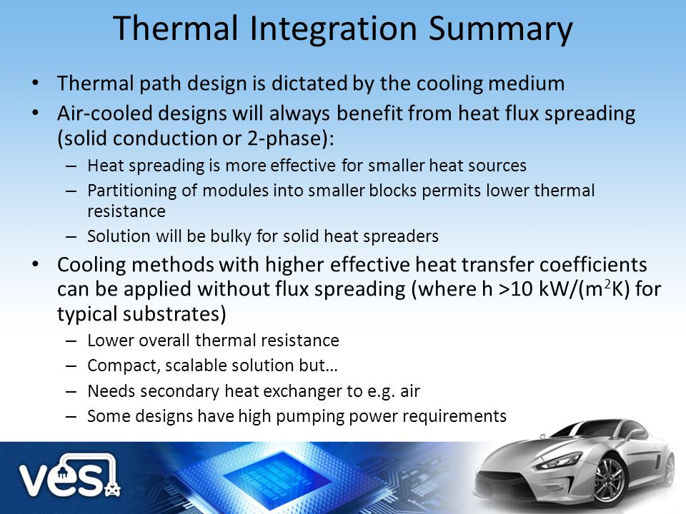 Thermal Integration Summary Thermal path design is dictated by the cooling medium Air-cooled designs will always benefit from heat flux spreading (sol