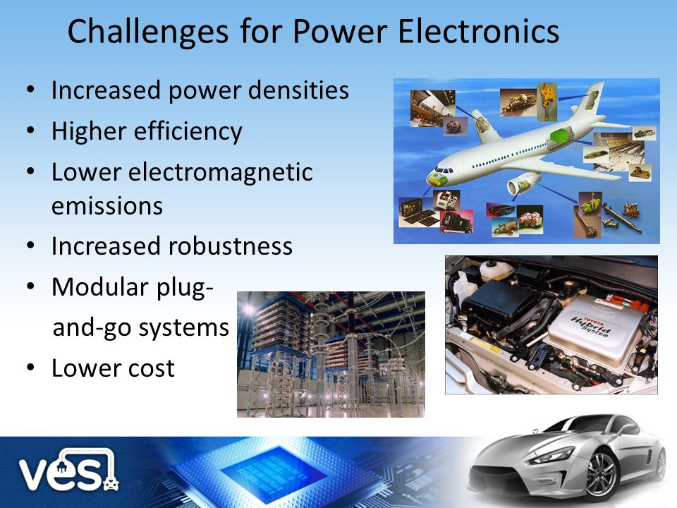 Challenges for Power Electronics Increased power densities Higher efficiency Lower electromagnetic emissions Increased robustness Modular plug- and-go