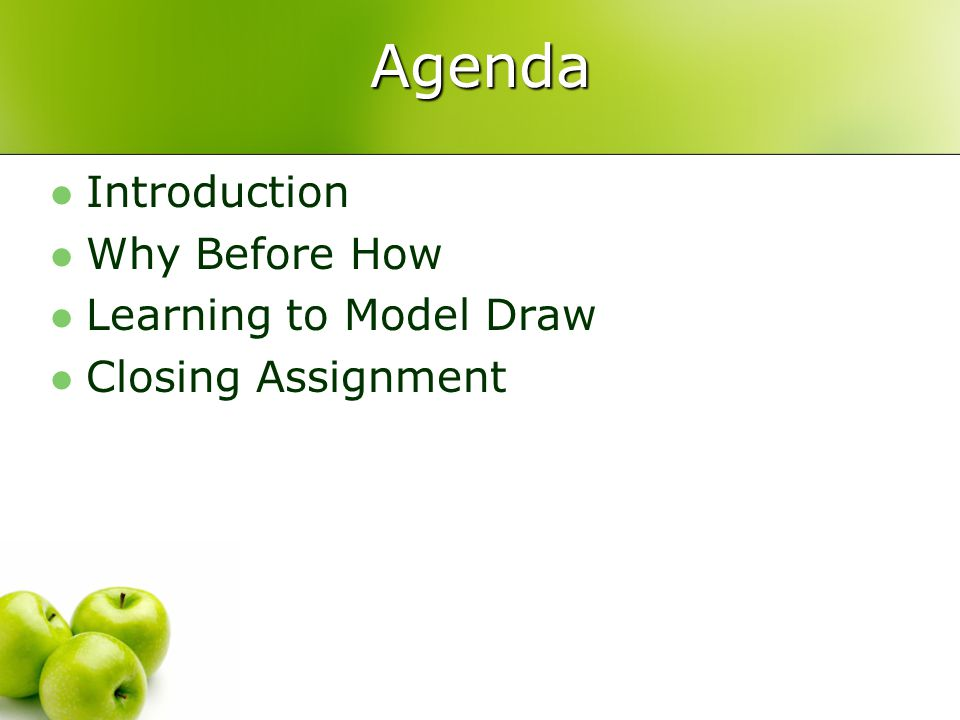 Agenda Introduction Why Before How Learning to Model Draw Closing Assignment