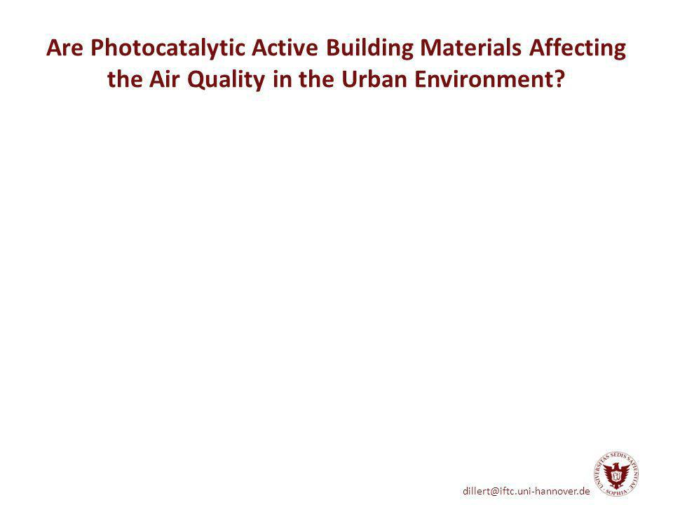 dillert@iftc.uni-hannover.de Are Photocatalytic Active Building Materials Affecting the Air Quality in the Urban Environment?