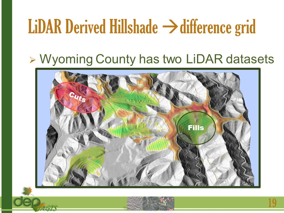 LiDAR Derived Hillshade difference grid 19 Wyoming County has two LiDAR datasets 2003 FEMA 2009 WVDEP Fills Cuts
