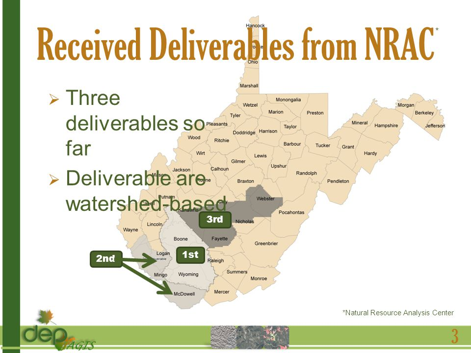 Received Deliverables from NRAC Three deliverables so far Deliverable are watershed-based 3 1st 2nd 3rd *Natural Resource Analysis Center *
