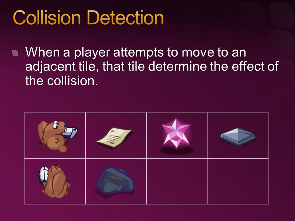 When a player attempts to move to an adjacent tile, that tile determine the effect of the collision.