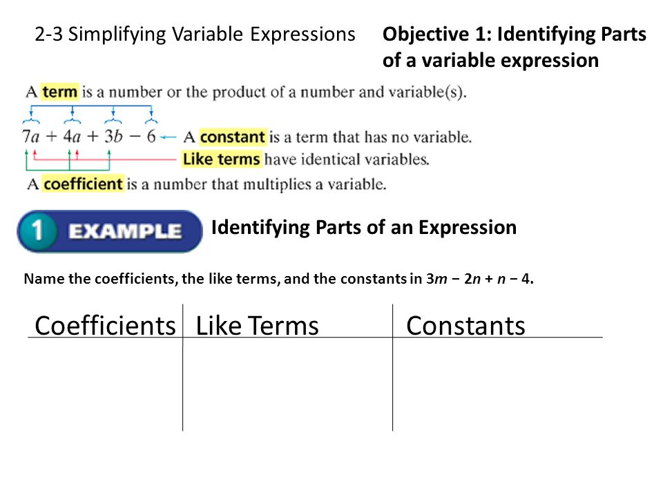 2-3 Simplifying Variable ExpressionsObjective 1: Identifying Parts of a variable expression Identifying Parts of an Expression Name the coefficients,