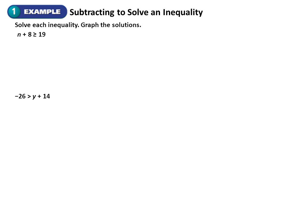 Subtracting to Solve an Inequality Solve each inequality. Graph the solutions. n + 8 19 26 > y + 14
