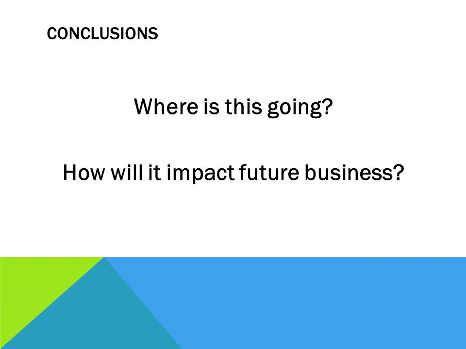 CONCLUSIONS Where is this going How will it impact future business