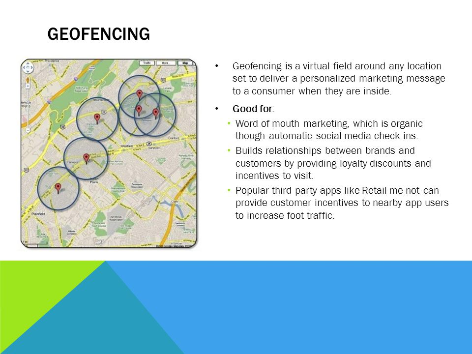 GEOFENCING Geofencing is a virtual field around any location set to deliver a personalized marketing message to a consumer when they are inside. Good