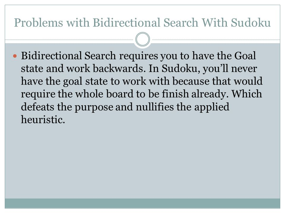 Solution.There is no true solution by use of Bidirectional Search.