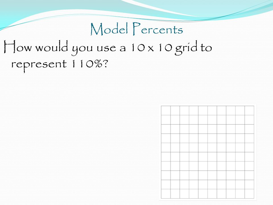 Model Percents How would you use a 10 x 10 grid to represent 110%