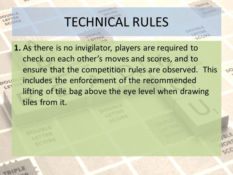 TECHNICAL RULES 1.