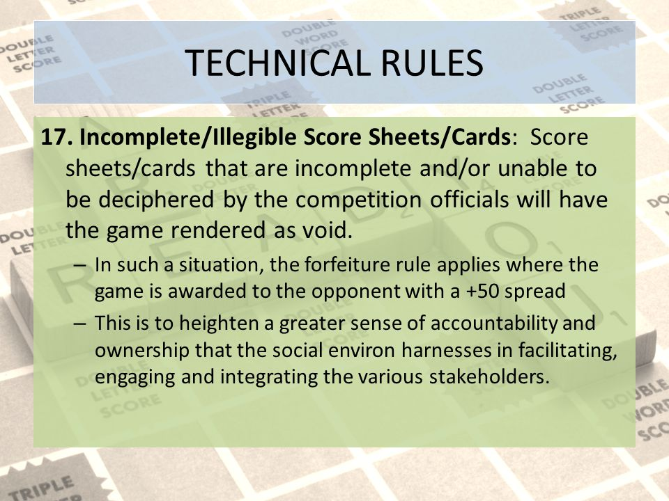 TECHNICAL RULES 17.