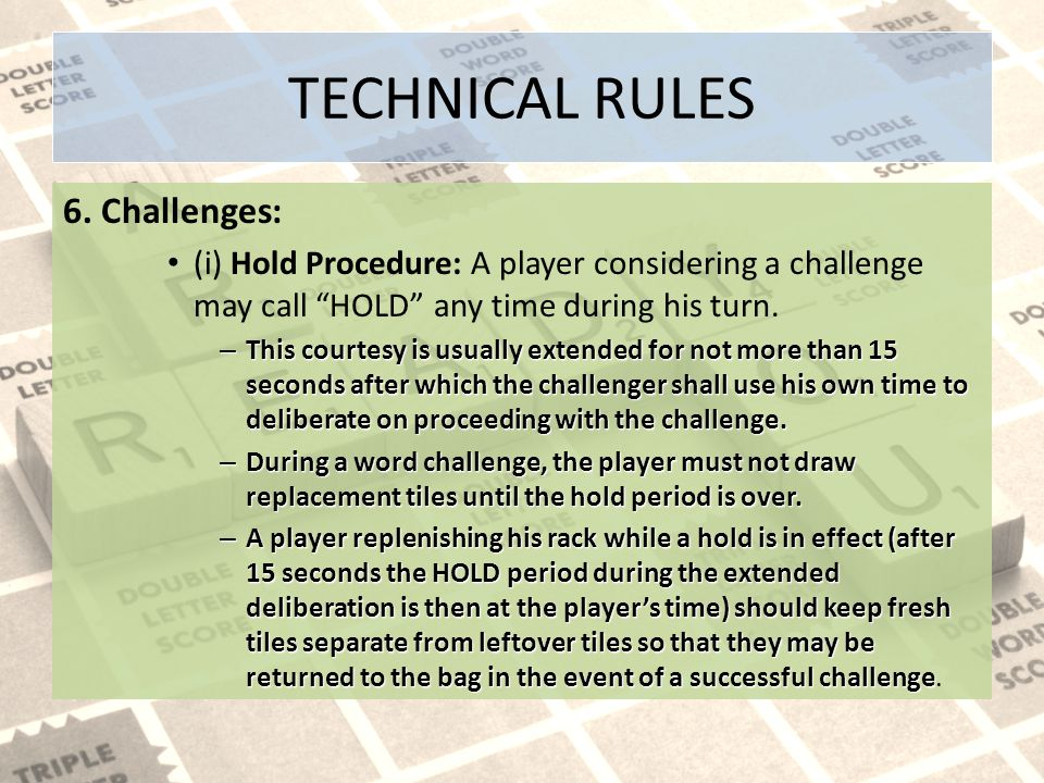 TECHNICAL RULES 6.