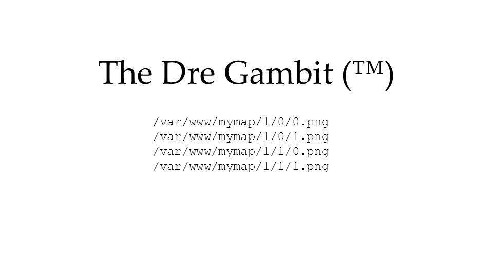 The Dre Gambit () /var/www/mymap/1/0/0.png /var/www/mymap/1/0/1.png /var/www/mymap/1/1/0.png /var/www/mymap/1/1/1.png