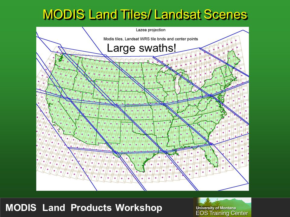 MODIS Land Products Workshop MODIS Land Tiles/ Landsat Scenes Large swaths!