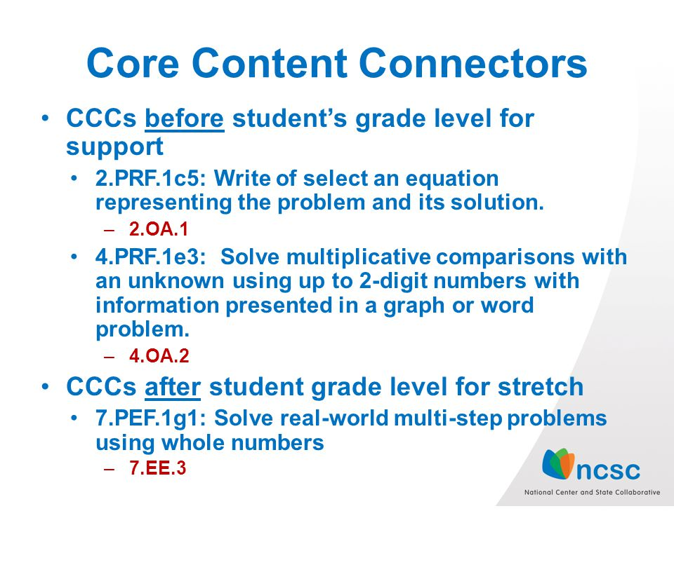 Core Content Connectors CCCs before students grade level for support 2.PRF.1c5: Write of select an equation representing the problem and its solution.