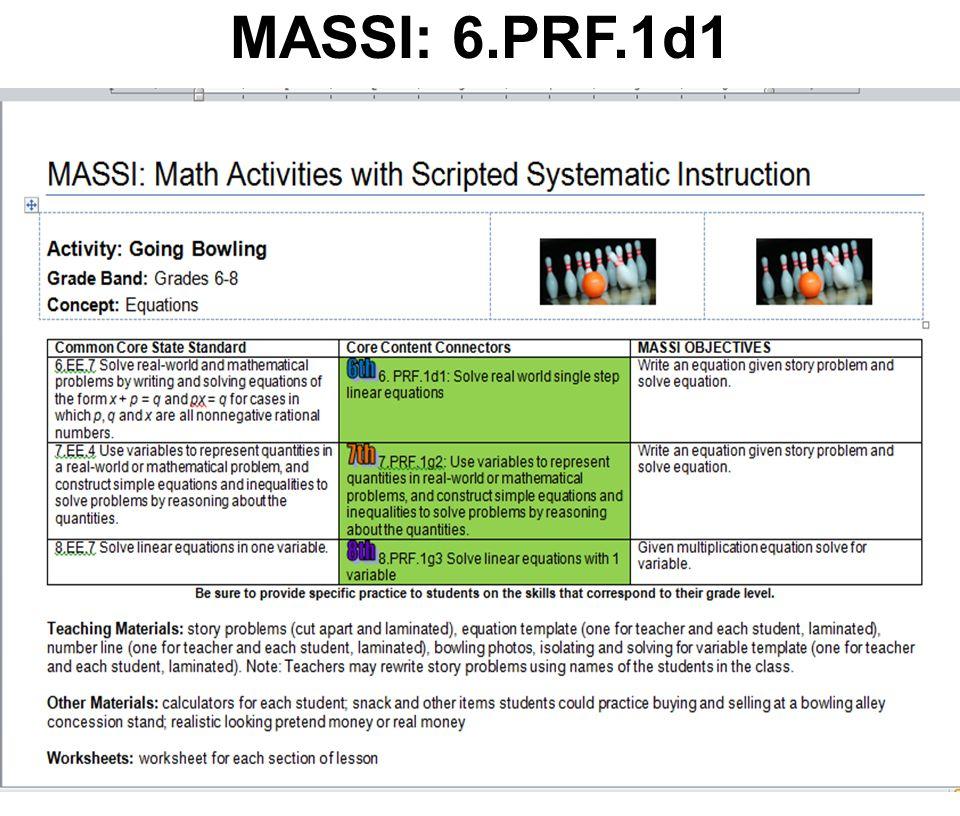 MASSI: 6.PRF.1d1