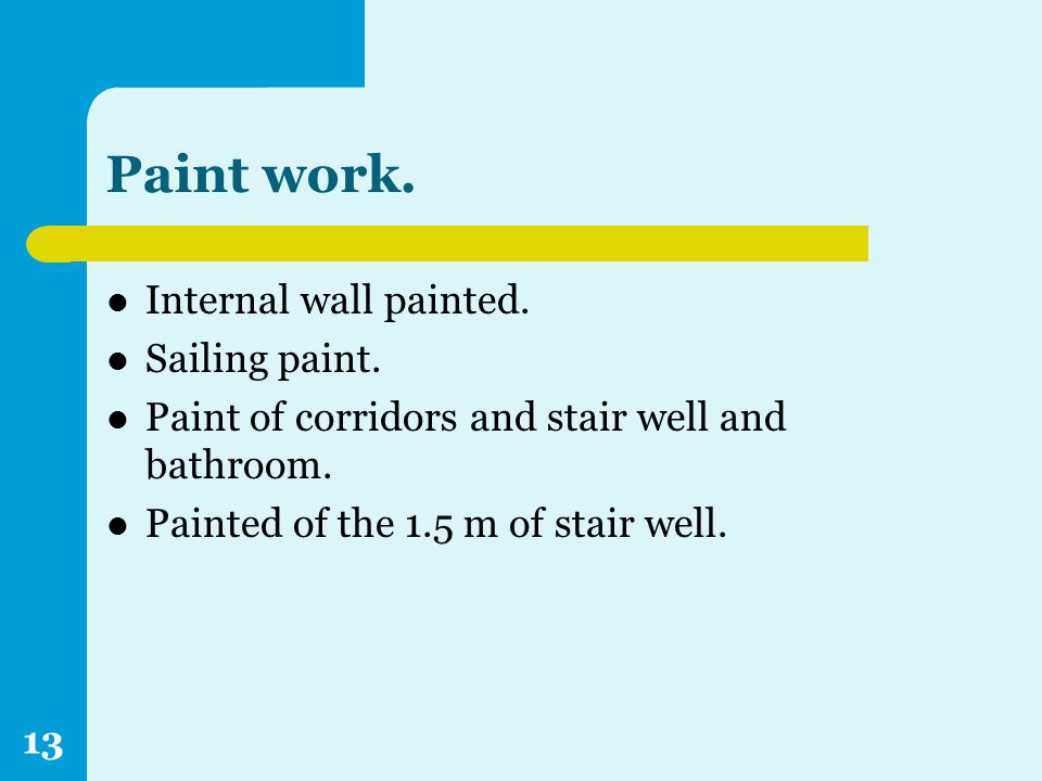 Paint work. Internal wall painted. Sailing paint.