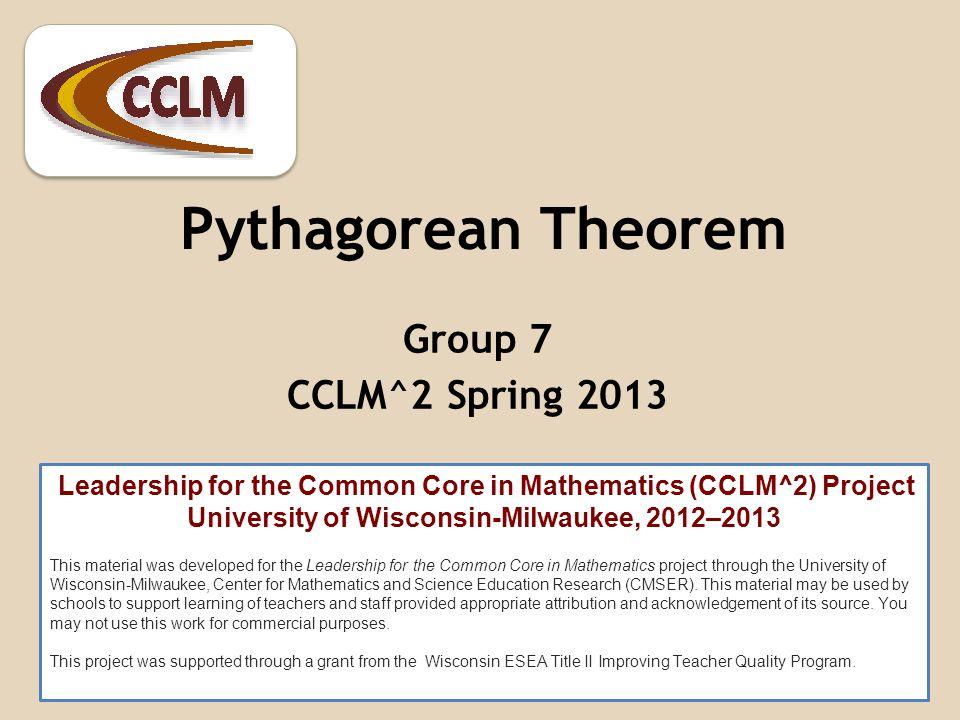 Proving the Pythagorean Theorem Gerry ShinnersJason Thurow Nina Overholser Mindi MacLeish