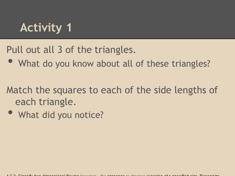 Activity 2 Lets pull out your triangles.Notice they are labeled leg 1, leg 2, and hypotenuse.