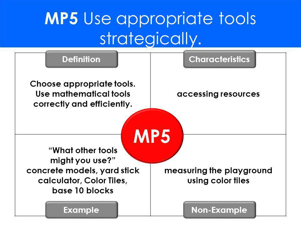 MP5 Use appropriate tools strategically.Choose appropriate tools.