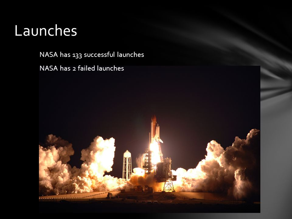 NASA has 133 successful launches NASA has 2 failed launches Launches