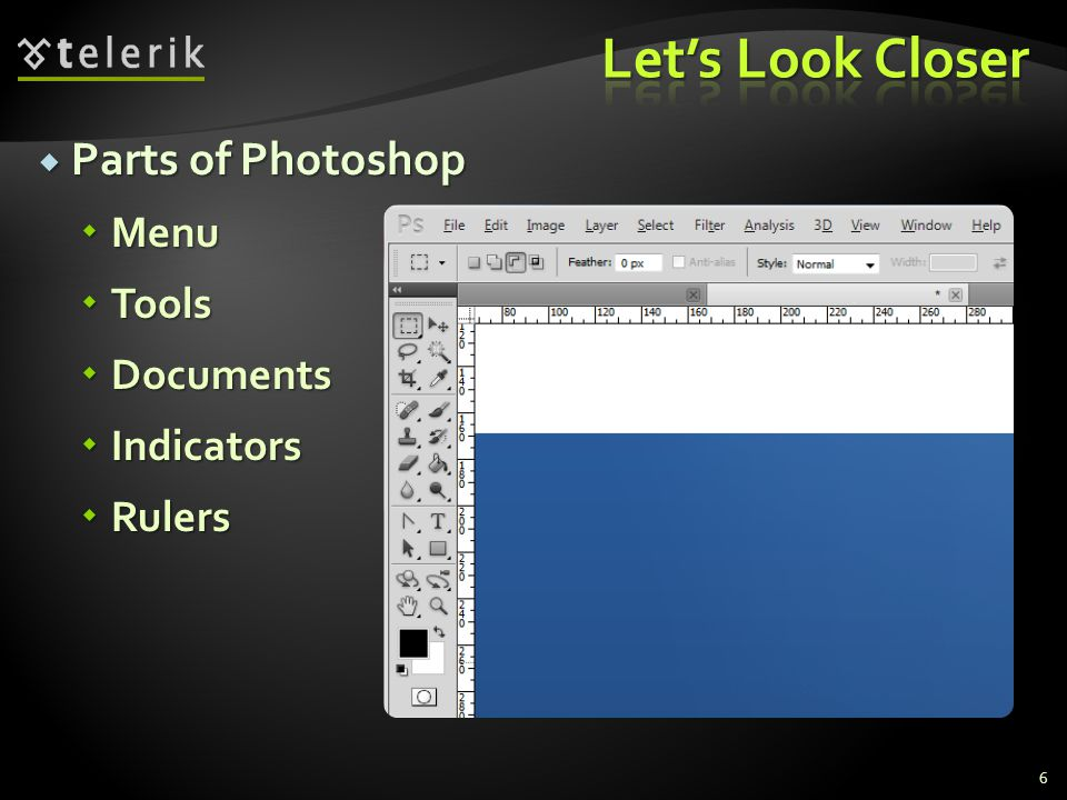 Parts of Photoshop Parts of Photoshop Menu Menu Tools Tools Documents Documents Indicators Indicators Rulers Rulers 6