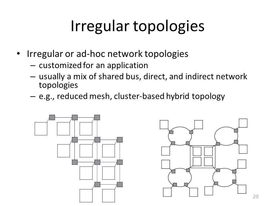 Irregular topologies Irregular or ad-hoc network topologies – customized for an application – usually a mix of shared bus, direct, and indirect networ