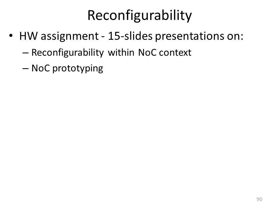 Reconfigurability HW assignment - 15-slides presentations on: – Reconfigurability within NoC context – NoC prototyping 90