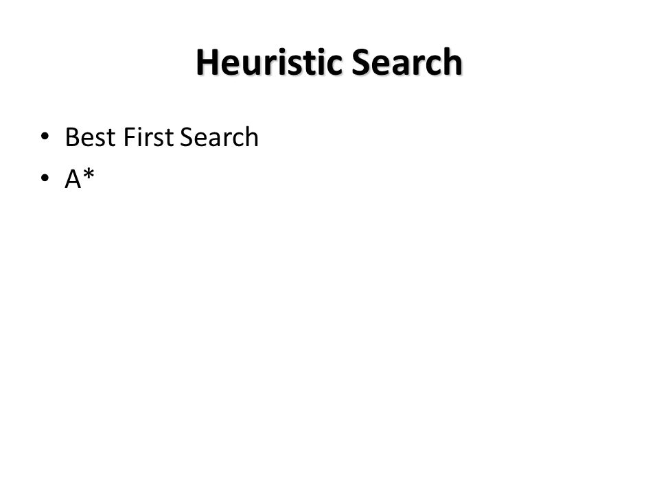 About Heuristics Heuristics are intended to orient the search along promising paths The time spent computing heuristics must be recovered by a better search After all, a heuristic function could consist of solving the problem; then it would perfectly guide the search Deciding which node to expand is sometimes called meta-reasoning Heuristics may not always look like numbers and may involve large amount of knowledge