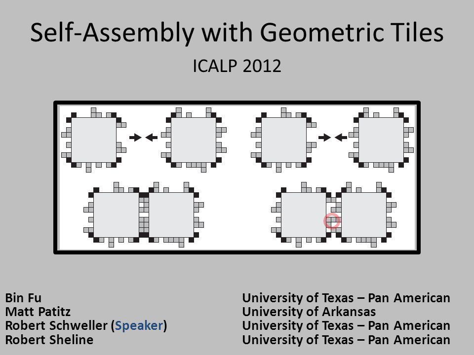 Self-Assembly with Geometric Tiles ICALP 2012 Bin FuUniversity of Texas – Pan American Matt PatitzUniversity of Arkansas Robert Schweller (Speaker)Uni