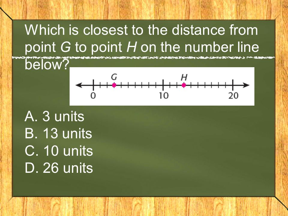 Which is closest to the distance from point G to point H on the number line below? A. 3 units B. 13 units C. 10 units D. 26 units