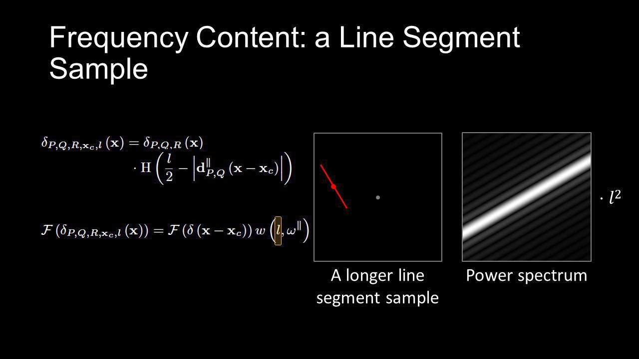 Frequency Content: a Line Segment Sample A longer line segment sample Power spectrum