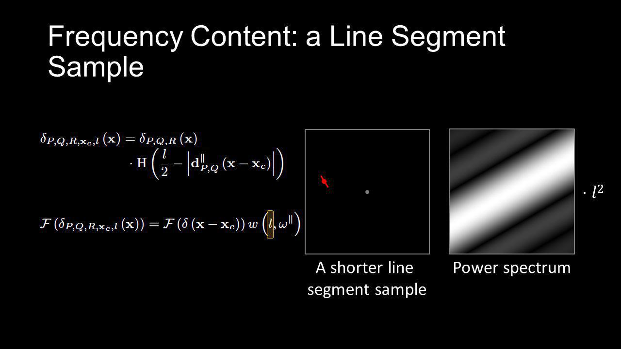 Frequency Content: a Line Segment Sample A shorter line segment sample Power spectrum